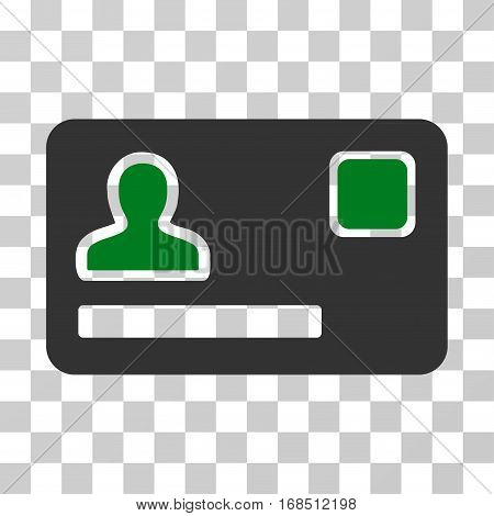 Banking Card icon. Vector illustration style is flat iconic bicolor symbol, green and gray colors, transparent background. Designed for web and software interfaces.