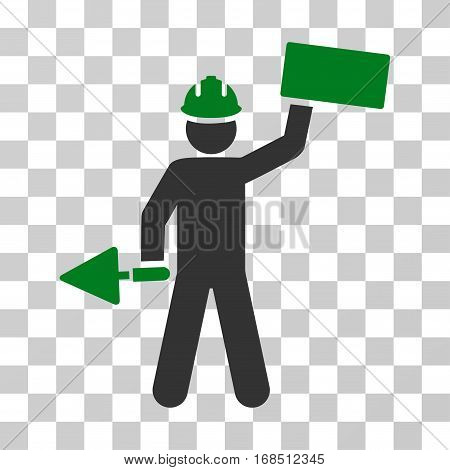 Builder With Brick icon. Vector illustration style is flat iconic bicolor symbol, green and gray colors, transparent background. Designed for web and software interfaces.