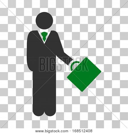 Businessman icon. Vector illustration style is flat iconic bicolor symbol, green and gray colors, transparent background. Designed for web and software interfaces.