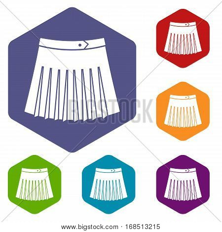 Tennis female skirt icons set rhombus in different colors isolated on white background