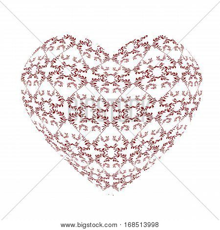 Red openwork pattern in the form of a large heart. Gift for Valentines day