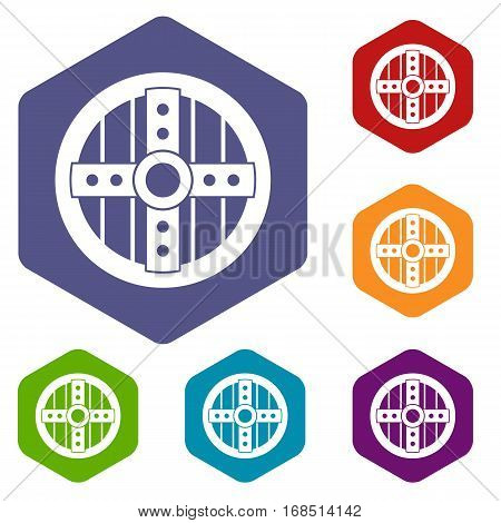 Round protective shield icons set rhombus in different colors isolated on white background