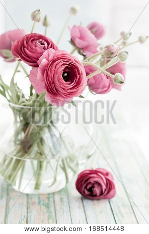 Bouquet of pink ranunculus.