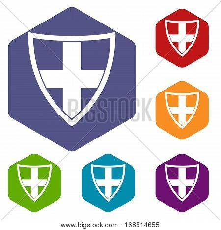 Shield for protection icons set rhombus in different colors isolated on white background