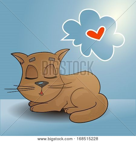 Sleeping ginger cat with a speech bubble dreaming card, vector