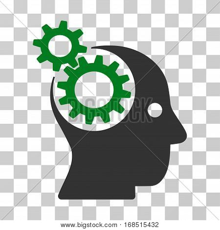 Intellect Gears icon. Vector illustration style is flat iconic bicolor symbol, green and gray colors, transparent background. Designed for web and software interfaces.