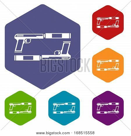 Gun icons set rhombus in different colors isolated on white background