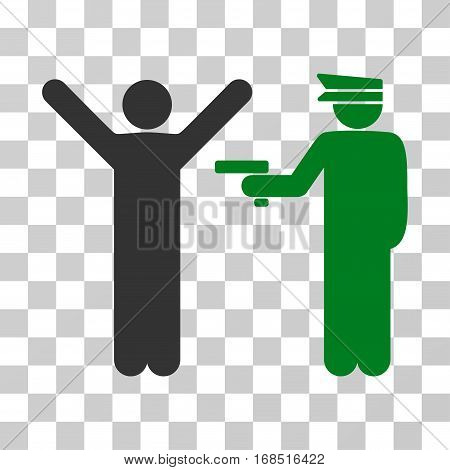Police Arrest icon. Vector illustration style is flat iconic bicolor symbol, green and gray colors, transparent background. Designed for web and software interfaces.