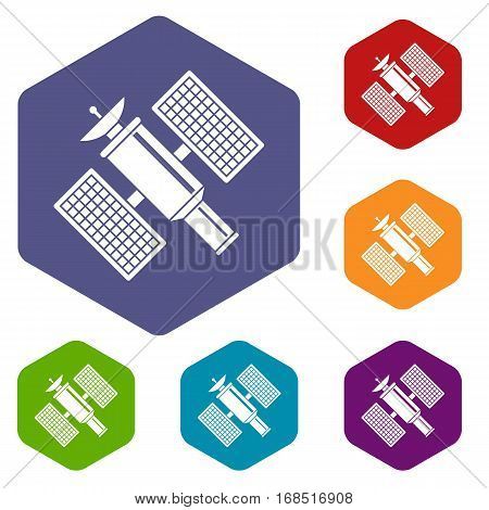 Space satellite icons set rhombus in different colors isolated on white background