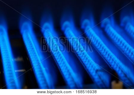 Propane flame inside of gas boiler furnace
