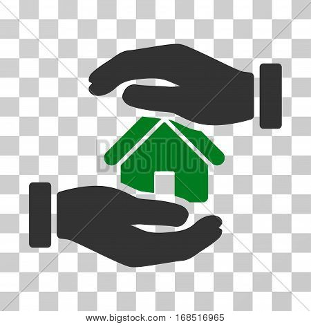 Realty Insurance icon. Vector illustration style is flat iconic bicolor symbol, green and gray colors, transparent background. Designed for web and software interfaces.