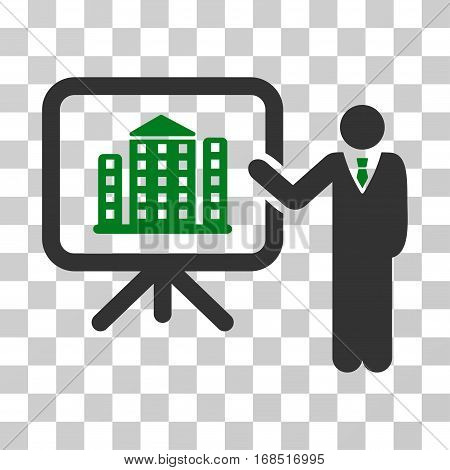 Realty Presention icon. Vector illustration style is flat iconic bicolor symbol, green and gray colors, transparent background. Designed for web and software interfaces.
