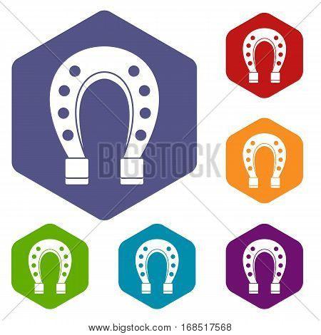 Horse shoe icons set rhombus in different colors isolated on white background