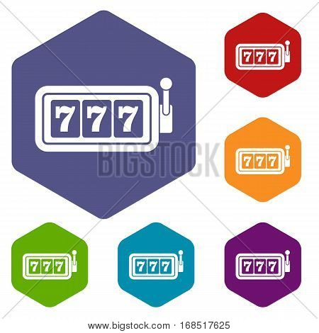 Lucky seven on slot machine icons set rhombus in different colors isolated on white background