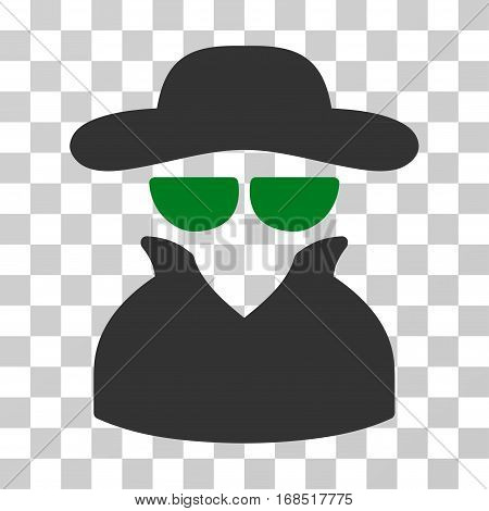 Spy icon. Vector illustration style is flat iconic bicolor symbol, green and gray colors, transparent background. Designed for web and software interfaces.