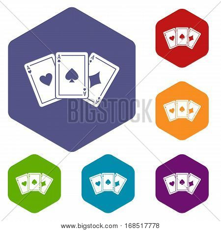 Three aces playing cards icons set rhombus in different colors isolated on white background