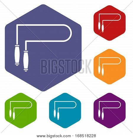 Skipping rope icons set rhombus in different colors isolated on white background
