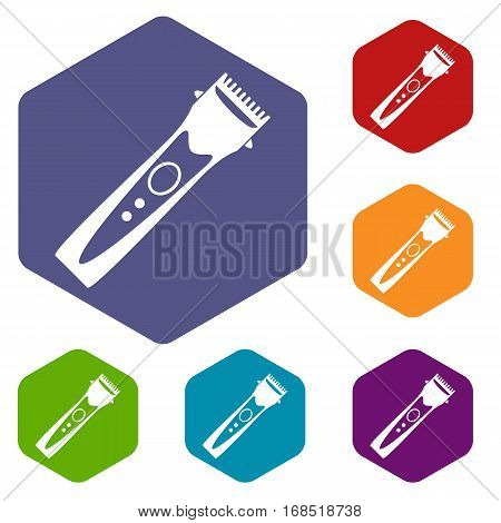 Clipper icons set rhombus in different colors isolated on white background