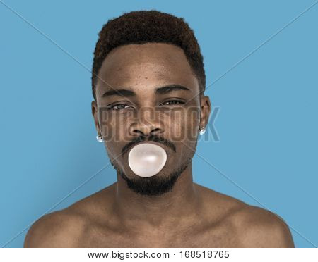Men Blow Bubble Gum Portrait Studio