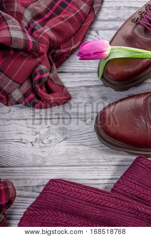 Burgundy color. Stylish shoes, clothes and tulips on a gray background