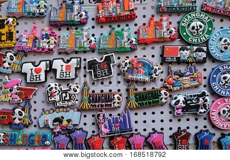 SHANGHAI - FEBRUARY 27: Souvenirs display in a typical shop. Qibao water village is Shanghai tourist attraction with 1 000 000 visitors year in Shanghai, China, February 27, 2016.