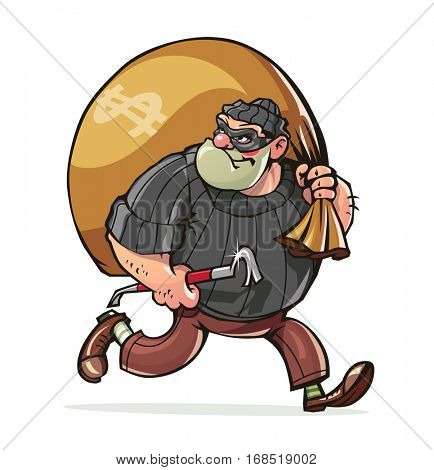 Bandit with jimmy carry sack money vector illustration. Isolated white background