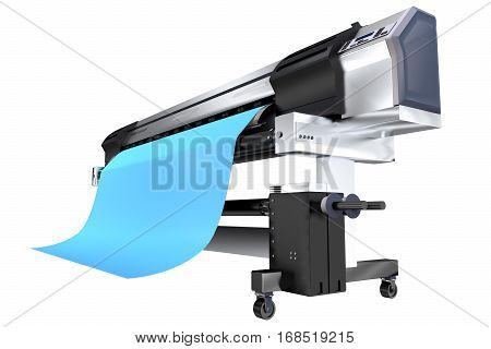 Printing Banners on Wide Printer Machine. Wide Format Ink Plotter 3D Illustration Isolated on White Background