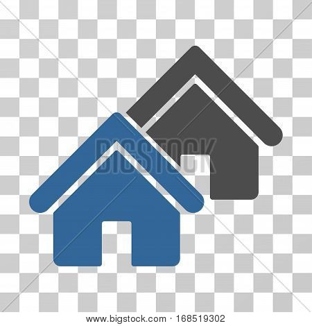 Realty icon. Vector illustration style is flat iconic bicolor symbol, cobalt and gray colors, transparent background. Designed for web and software interfaces.
