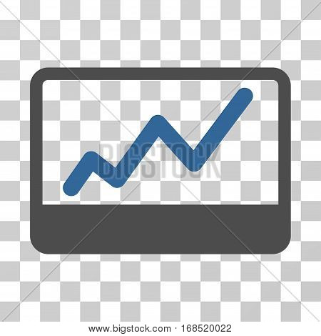 Stock Market icon. Vector illustration style is flat iconic bicolor symbol, cobalt and gray colors, transparent background. Designed for web and software interfaces.