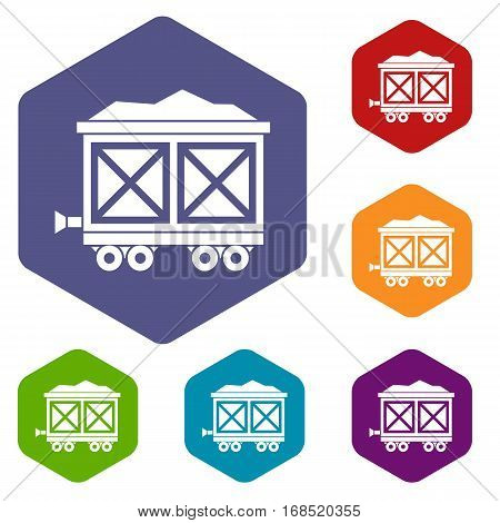 Cart on wheels with gold icons set rhombus in different colors isolated on white background