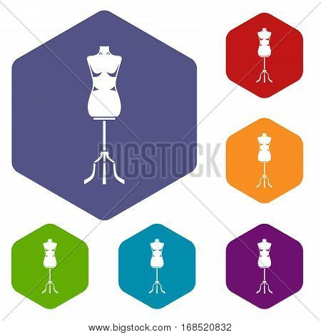 Sewing mannequin icons set rhombus in different colors isolated on white background