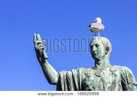 Bronze statue of Nerva, emperor of Ancient Rome. Roman Forum. Italy