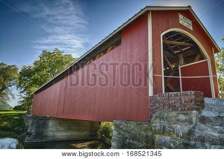 Hystorical Mull covered bridge located in Freemont, Ohio.  The bridge was build in 1851.