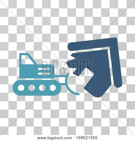 Demolition icon. Vector illustration style is flat iconic bicolor symbol, cyan and blue colors, transparent background. Designed for web and software interfaces.