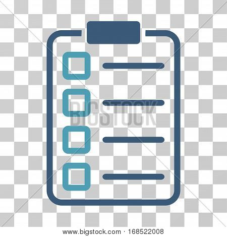 Examination icon. Vector illustration style is flat iconic bicolor symbol, cyan and blue colors, transparent background. Designed for web and software interfaces.