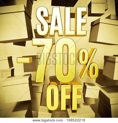 Gold 70 Percent Off Discount 3d Sign with Packaging Boxes Sale Banner Template, Special Offer 70% Off Discount Tag, Golden Sale Sticker, Gold Sale Symbol, Gold Sticker, Banner, Advertising, Sale Badge