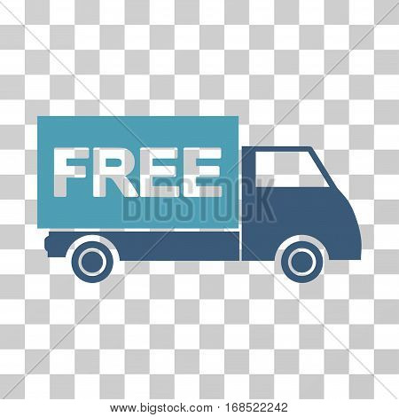 Free Shipment icon. Vector illustration style is flat iconic bicolor symbol, cyan and blue colors, transparent background. Designed for web and software interfaces.