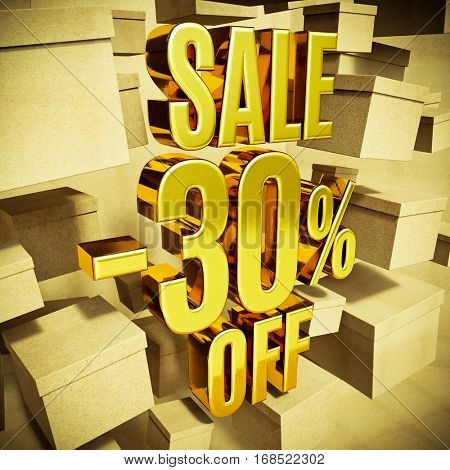 Gold 30 Percent Off Discount 3d Sign with Packaging Boxes Sale Banner Template, Special Offer 30% Off Discount Tag, Golden Sale Sticker, Gold Sale Symbol, Gold Sticker, Banner, Advertising, Sale Badge