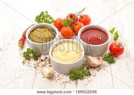 assorted various of sauce dip