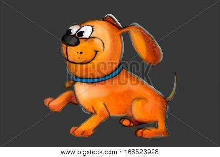 Happy cute dog character illustration glad dog