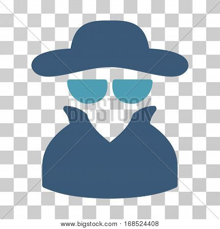 Spy icon. Vector illustration style is flat iconic bicolor symbol, cyan and blue colors, transparent background. Designed for web and software interfaces.