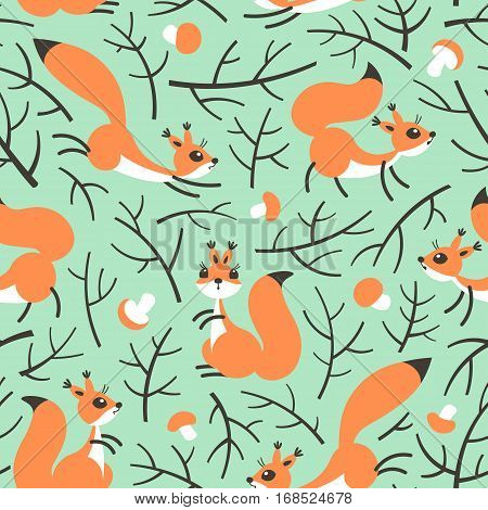 Little cute squirrels in the fall forest. Seamless autumn pattern for gift wrapping, wallpaper, childrens room or clothing. Vector illustration