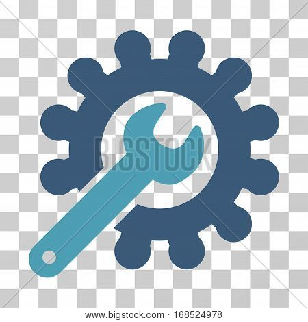 Wrench And Gear Customization Tools icon. Vector illustration style is flat iconic bicolor symbol, cyan and blue colors, transparent background. Designed for web and software interfaces.