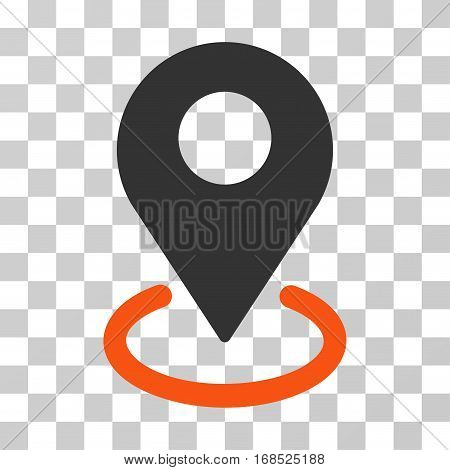 Geo Targeting icon. Vector illustration style is flat iconic bicolor symbol, orange and gray colors, transparent background. Designed for web and software interfaces.