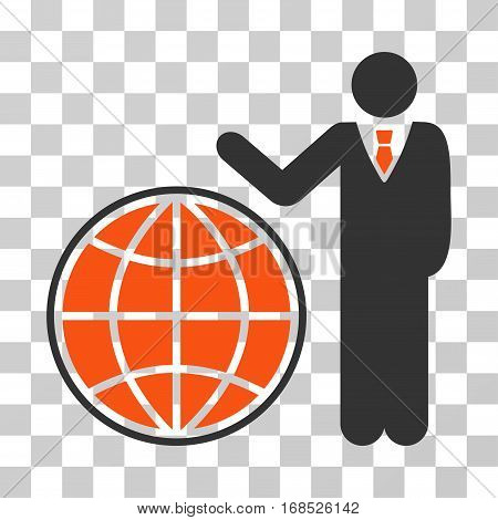 Planetary Manager icon. Vector illustration style is flat iconic bicolor symbol, orange and gray colors, transparent background. Designed for web and software interfaces.