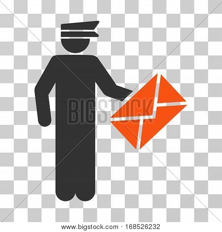 Postman icon. Vector illustration style is flat iconic bicolor symbol, orange and gray colors, transparent background. Designed for web and software interfaces.
