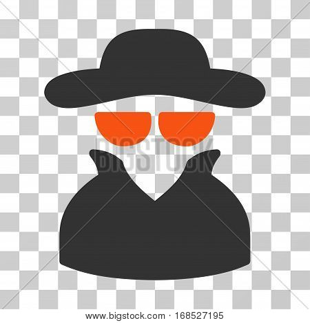 Spy icon. Vector illustration style is flat iconic bicolor symbol, orange and gray colors, transparent background. Designed for web and software interfaces.