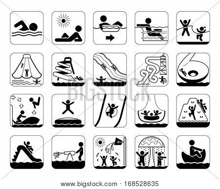 Collection of premium quality pictograms and signs for aqua park providing information, bans and warnings for swimming pool visitors. Water park. Summer fun.