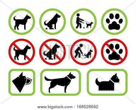 Set of pet friendly and pet restriction signs providing information for owners on level of tolerance for their pets using public space. Vector no dog poop sign.