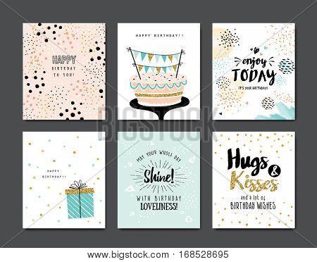 Set of birthday greeting cards